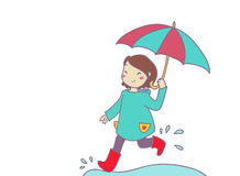 A smiling girl runs under the rain royalty free illustration