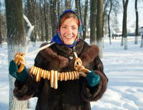 Smiling girl in russian traditional  clothe Stock Images