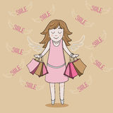 Smiling girl with sale bags. Smiling girl in pink dress with sale bags Royalty Free Stock Photography