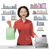 Smiling girl sales clerk holding a shopping bag. Smiling girl sales clerk holding a shopping bag and offers products over background of showcas Royalty Free Stock Photo