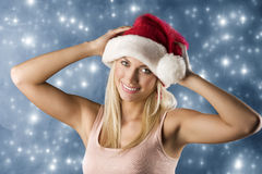 Smiling girl santa claus Stock Photography
