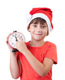 Smiling girl in a Santa Claus hat Royalty Free Stock Images