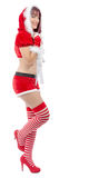 Smiling girl in santa clause costume Royalty Free Stock Photo
