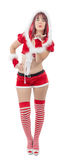 Smiling girl in santa clause costume Royalty Free Stock Photography