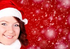 Smiling girl in santa cloth Royalty Free Stock Photography