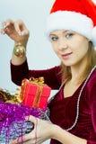 Smiling girl in Santa hat Royalty Free Stock Photo