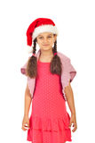 Smiling girl with Santa hat royalty free stock image