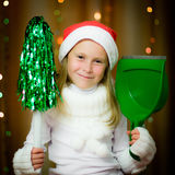 Smiling girl in santa hat Royalty Free Stock Photo