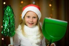 Smiling girl in santa hat Stock Photo