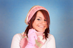 Smiling girl in scarf and hat Stock Image