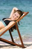 Smiling girl on sea background Stock Photos