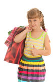 Smiling girl with shopping Royalty Free Stock Photography
