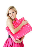 Smiling girl with shopping bag Royalty Free Stock Images