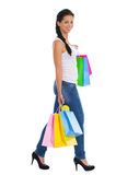 Smiling girl with shopping bags Royalty Free Stock Images