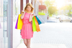 Smiling girl with shopping bags Stock Images