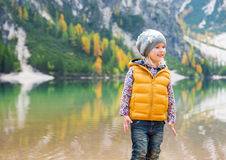Smiling girl on the shore of Lake Bries Stock Photo