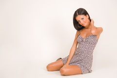 Smiling girl in short dress Royalty Free Stock Photos