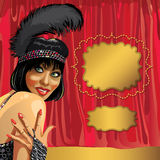 Smiling girl with short hair.The curtain.Cabaret.R Royalty Free Stock Image