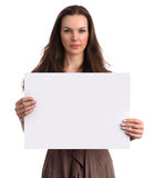 Smiling Girl showing blank placard Royalty Free Stock Photography
