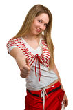 Smiling girl showing Thumbs up Royalty Free Stock Images