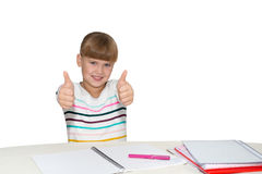 Smiling girl  showing thumbs up isolated Royalty Free Stock Image