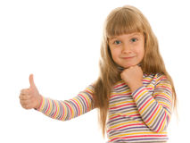 Smiling girl shows his thumb up Royalty Free Stock Photos