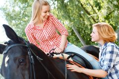 Smiling girl sitting in the saddle Royalty Free Stock Images