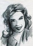 Smiling girl sketch royalty free illustration