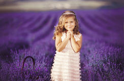 Smiling girl sniffing flowers in a lavender field Stock Photography