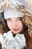 Smiling girl with snow Stock Image
