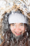 Smiling girl with snow Royalty Free Stock Image