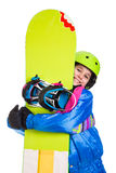 Smiling girl with snowboard Royalty Free Stock Images