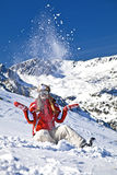 Smiling girl snowboarder. In the mountains Royalty Free Stock Photography