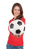 Girl with a soccer Ball in hand Stock Image