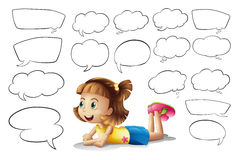 A smiling girl and speech bubbles Royalty Free Stock Photo