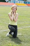 Smiling girl in sport Royalty Free Stock Image