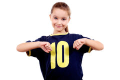 Smiling girl in sport's shirt Royalty Free Stock Image