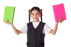 Smiling girl standing with books Stock Photography