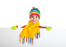 Smiling girl standing with empty banner Royalty Free Stock Image