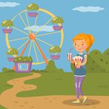 Smiling girl standing with popcorn and plastic cup of soda drink in front of ferris wheel in amusement park, colorful. Vector Illustration design element for Stock Image