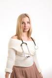 Smiling nurse with stethoscope Stock Photos