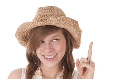 Smiling Girl In Straw Hat Royalty Free Stock Photo