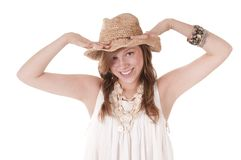 Smiling Girl In Straw Hat Stock Image