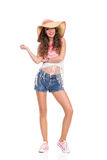 Smiling Girl in Straw Hat Royalty Free Stock Image