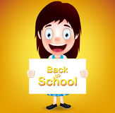 Smiling Girl Student Character Holding White Paper with Back to School Stock Image