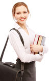 Smiling girl-student with textbooks and portfolio Stock Photos