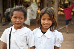 Smiling girl students, Cambodia royalty free stock image