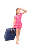 Smiling girl with a suitcase isolated Stock Photos