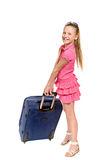 Smiling girl with suitcase and sunglasses Stock Photos