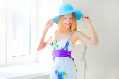 Smiling girl in summer hat Royalty Free Stock Photos